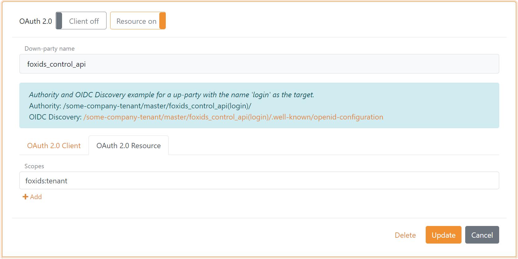 Configure foxids_control_api