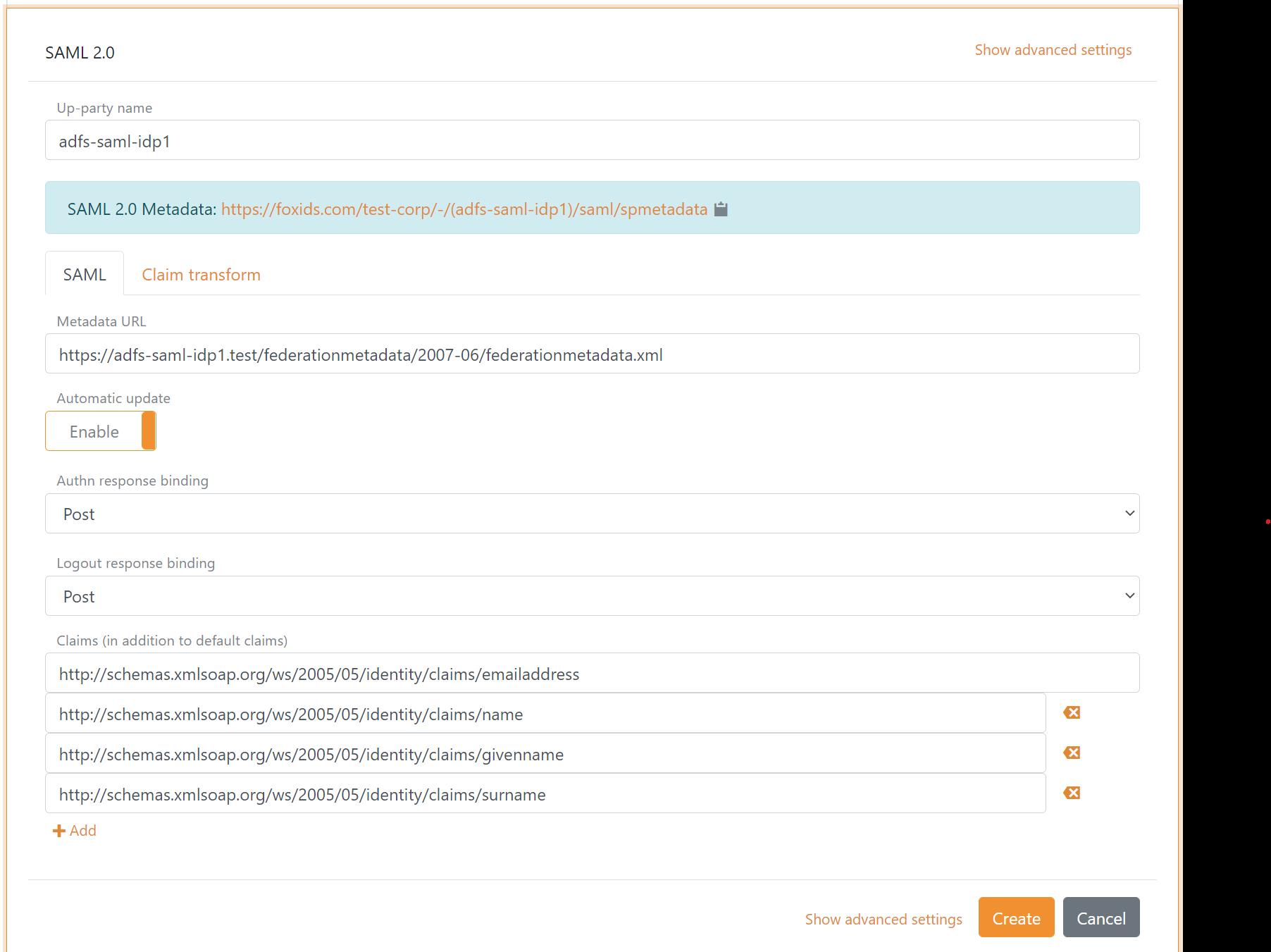 Configure SAML 2.0 AD FS up-party
